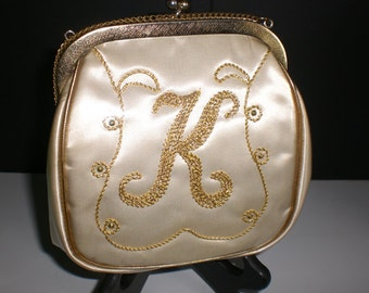 JR Miami, Plastic coated handbag, K, Gold embroidery,Julius Resnick, Mid Century