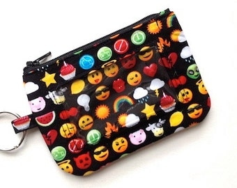 Keychain ID Wallet ID Holder Badge Holder ID Wallet Keychain Coin Purse Id Card Case Student Id holder Emojis Smiley Faces Black Yellow Red