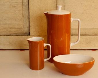 Vintage Coffee Serving Set, MID CENTURY- Tierra Ironstone Set by Harmony House, Retro Mocha Four Piece Set Modern Ironstone Serving Trio