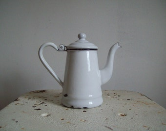 Antique enamelware teapot small white with black trim straight sided individual teapot 1 and   1/2 cup dainty petite enamel ware teapot