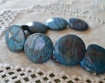 13 Blue Sky Jasper 30mm Flat Round Natural Gemstone Beads Round 16 Inches Strand