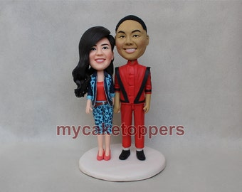 wedding cake topper cake topper funny bride and groom figure figurines michael jackson beat it
