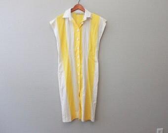 Vintage 80s Polo Yellow and White Stripe  Dress by Pedestal