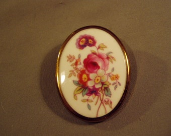 Vintage Royal Worcester Bone China England Oval Pin Brooch Hand Painted Flowers  8722
