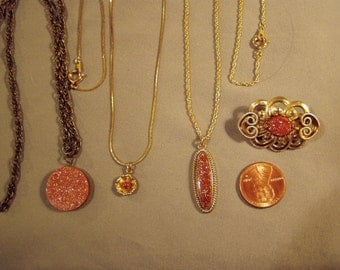 Vintage Lot 3 Pendant Necklaces 1 Pin With Polished Goldstone Stones 8270