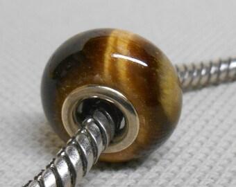 European Style Large Hole Charm Bead Tiger Eye Stone Bead Silver Cored