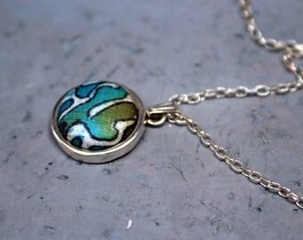 Batik necklace, Eclectic necklace, Minimal necklace, Batik jewelry, Ornament jewelry, Drop necklace, Sterling necklace, Dainty necklace