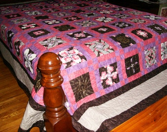 Stack 'n Whack 4-patch with an Oriental Twist Queen Size Quilt