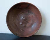 Vintage Wabi Sabi Clay Plate Shallow Bowl Organic Brown Rustic Studio Pottery