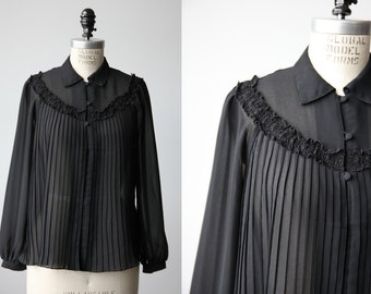 Vintage Sheer Black Blouse With Knife Pleat Front Lace Trim Yoke 80s S