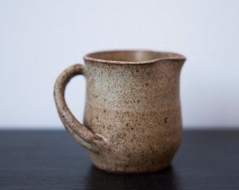 Vintage Handmade Pot Wheel Thrown Beige Brown Speckle Pitcher Creamer Mug Cup Rustic Farmhouse