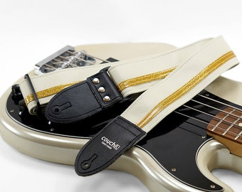 Racing Stripe White and Gold Guitar Strap