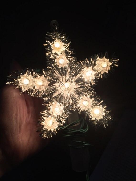 vintage christmas lighted mini tree topper tinsel star golden. Black Bedroom Furniture Sets. Home Design Ideas