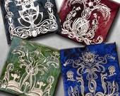 Art Nouveau Silver Foil Coaster Set - 4 or 5 Inch Handmade Bevelled Glass Decoupage FOILZ Coaster -  Vintage Paris Fashion - Gems of Nouveau