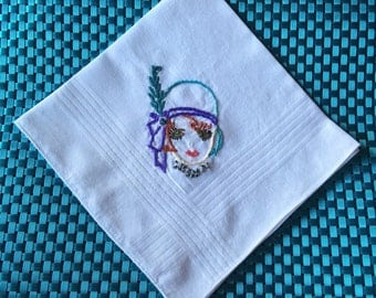 1920's Flapper, Great Gatsby Embroidered Handkerchief