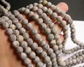 Fossil Jasper matte - 8mm  round beads -1 full strand - matte - 48 beads - RFG493