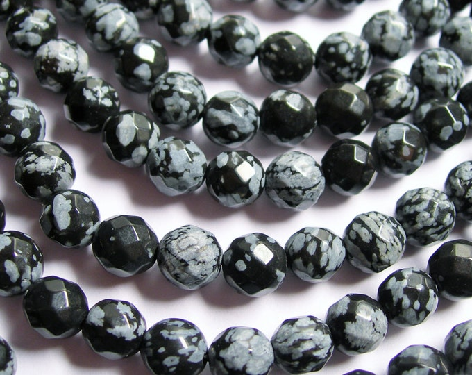 Snowflake Obsidian - 8 (7.7 mm)  faceted - 51 beads per strand - obsidian - A quality - RFG549