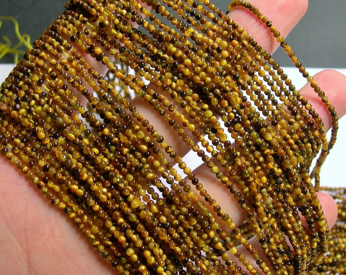 Tiger eyes - 2mm(1.9mm) round - A quality - 210 beads - full strand - PG1