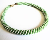 Art Deco Beaded Necklace... Green & White Wrapped Beads