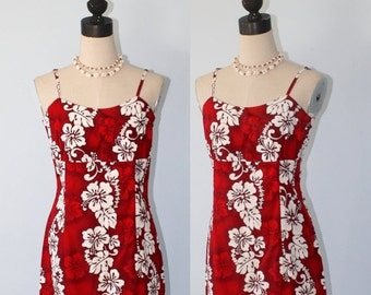 SALE Vintage Hawaiian Dress . Hawaii Tropical Summer Sundress . Red & White Floral Mini Kawaii Luau Sun Dress . Size Medium