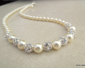 Bridal pearl Necklace, bridal rhinestone necklace, bridal swarovski pearl necklace, rhinestone wedding necklace, statement necklace, CLAIRE