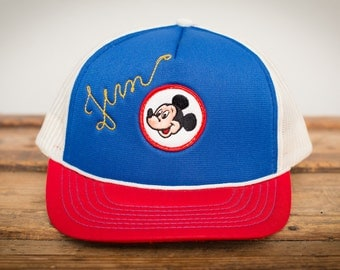 Mickey Mouse Club Fern Snapback Trucker Hat, Mesh, Walt Disney, Vintage 70s-80s