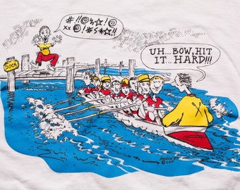 Rowing Team Cartoon T-Shirt, Top Ten Reasons to Row, Adcock, Vintage 80s