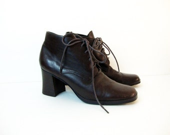 Size 8 Leather Heeled Oxford Squared Tip 90s Borrowed From The Boys Shoes