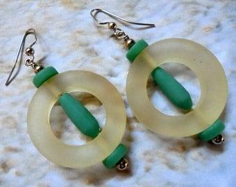 Chunky White and Teal Earrings (2908)