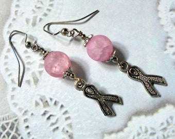 Pink and Silver Breast Cancer Awareness Earrings (3010)