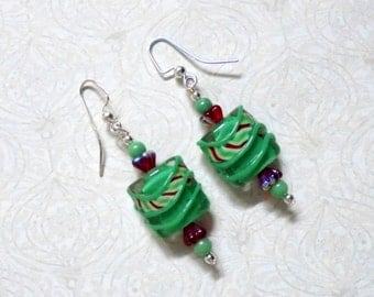 Red and Mint Green Earrings (0795)