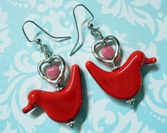 Red Love Bird Earrings with Silver and Pink Hearts (2426)