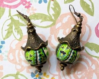 Lime Green, Navy Blue, Aqua and White Pagoda Earrings (2501)