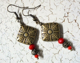 Crimson Red and Brass Earrings (2566)