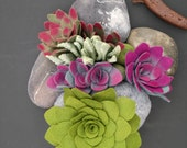 Felt succulent plants and faux stones arrangement