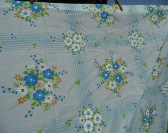 """Sheer curtain light blue vintage panel floral in white blue orange green with green leaves 24"""" at gathered top 41 3/4"""" at bottom 82"""" long"""