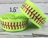 "5yds- 1.5"" Printed Ribbon- Sports Ribbon, Printed Ribbon, Softball Ribbon, Softball Stitching, Holographic Foil Softball"