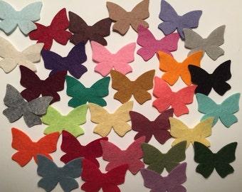 Wool Felt  Butterflies 30 - Random Colored. 3362