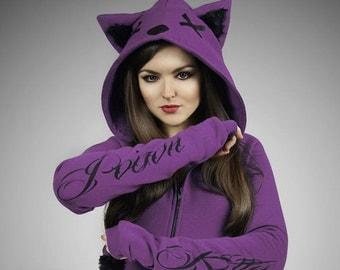 Purple cat hoodie ears animal kitty poison Violet