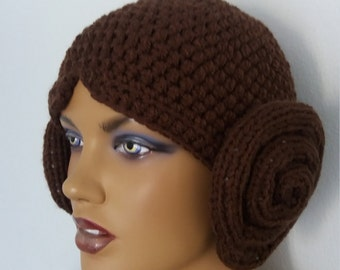 Princess Leia hat inspired by Star wars,Baby Girl Halloween Costume Pageant Hair-Adult or child Crochet Hat