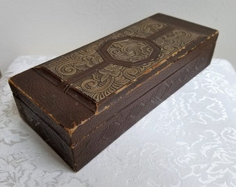 Vintage Wood Box Embossed Brown Textured Leatherette With Gold Medallion by Ehlbert Products Chicago, Bohemian Storage Organizer