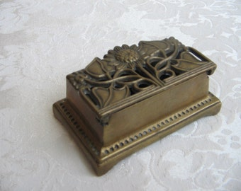 Vintage Brass Stamp Ring Box With Art Nouveau Style Sunflower Flowers Leaves, Small Jewelry Box or Paperweight