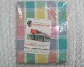 4 Yards Vintage Fabric Pastel Plaid Cherokee Textile Mills Cloth House Advertising