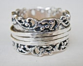 Silver Spinner Ring, Israel Signed Silver, Signed Jewelry, Israel Jewelry, Silver Filigree, Filigree Ring, Wedding Band