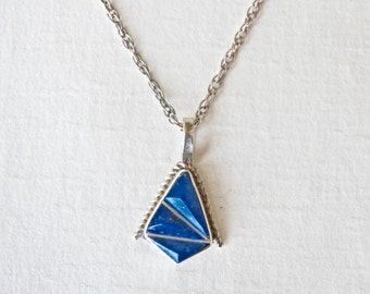 "Blue Lapis Pendant Silver Pendant Necklace 18"" Chain Geometric Jewelry Sterling Chain Petite Pendant"