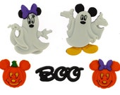 Mickey Minnie Mouse Ghost Buttons Halloween Disney Licensed Character Novelty Shank Button Set Sewing Crafts
