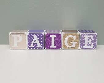 Purple and Bronze Baby Name Blocks, Personalized Baby Shower Gift