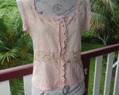 """sunrise camisole, cotton + vintage laces blouse,  36 """" bust"""