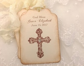 Baptism Favor Tags Christening Favor Tags Cross Personalized First Communion