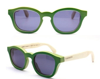 Turquoise handmade bamboo   glasses and wood box TAKE  by Takemoto MJX1103